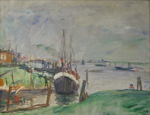 Heinz Rose: Die Elbe bei Harburg