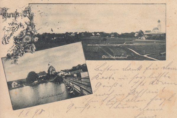 01 Gruß aus Ober- und Unterschondorf, 1898 verschickt