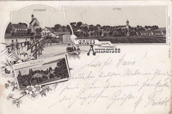05 1895 verschickt. Mit Utting und Mühlfeld (Herrsching)