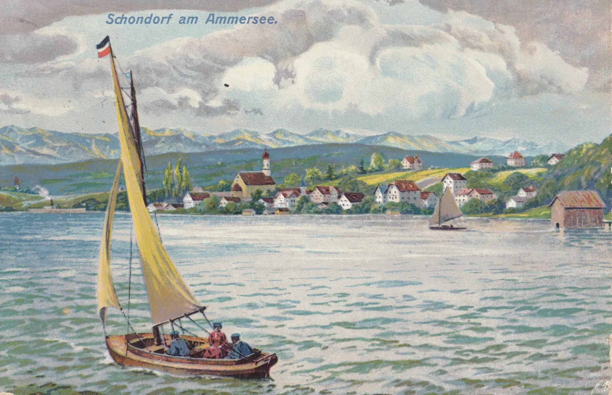 Ansichtskarte mit Segelschiff auf dem Ammersee