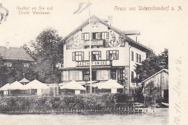 41 Lange Zeit eine sehr beliebte Gaststätte und Pension, nahe am noch unbefestigten Ufer